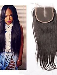 Brasilianische reine Haare gerade Spitze Verschluss Mittelteil 4x4 Spitze Verschluss mit Baby Haar natürliche schwarze Farbe Menschenhaar
