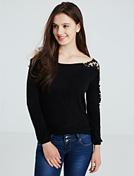 Women's Off The Shoulder Blue/Pink/Black T-shirt,Casual Asymmetrical Long Sleeve Beaded/Lace