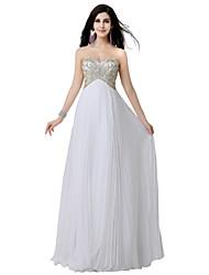 Formal Evening Dress Sheath / Column Sweetheart Floor-length Chiffon with Beading / Crystal Detailing