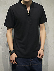 Men's Casual/Daily Simple T-shirt,Solid Button Down Collar Short Sleeves Cotton