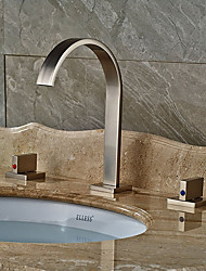 Contemporary Art Deco/Retro Modern Vessel Widespread with  Ceramic Valve Two Handles Three Holes for  Nickel Brushed  Bathroom Sink Faucets