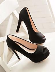 Damen-High Heels-Lässig-PUKomfort-Schwarz Rot