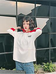 Damen Solide Einfach Ausgehen T-shirt,Mit Kapuze Langarm Baumwolle
