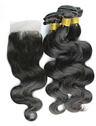 Top Grade 4Pcs/Lot Peruvian Virgin Hair Body Wave Hair Weft With 1Pcs Lace Closure Free Part Raw Human Hair Weaves