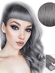Ruban 20pcs en extensions de cheveux gris argenté 40g 16inch 20inch 100% cheveux humains pour femmes
