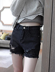 Women's High Rise Inelastic Jeans Pants Loose Solid