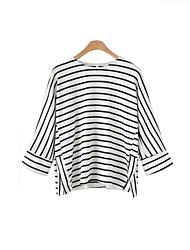 Tee-shirt Femme,Rayé Sortie Travail simple Manches ¾ Col Arrondi Coton