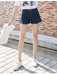 Women's High Rise Micro-elastic Jeans Shorts Pants,Cute Simple Wide Leg Solid