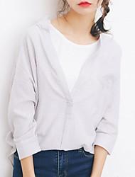 Feminino Camisa Social Casual SimplesListrado Algodão Colarinho Chinês Manga ¾