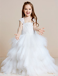 A-line Floor-length Flower Girl Dress - Lace Tulle Straps with Beading Bow(s) Cascading Ruffles