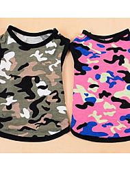 Собака Комбинезоны Жилет Одежда для собак На каждый день Мода В клетку Пурпурный Камуфляж цвета