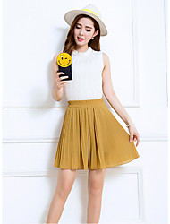 Women's Knee-length Skirts,Simple A Line Solid