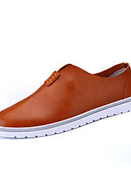 Men's Sneakers Spring Summer Fall Comfort Leather Outdoor Casual Flat Heel Lace-up Black Grey Orange