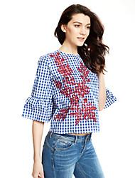 Для женщин На выход Осень Рубашка Рубашечный воротник,Богемный Вышивка Длинный рукав,Полиэстер,Средняя