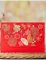 Personalizado Dobrado no Topo Convites de casamentoConjuntos de Convites Cartões Pré-Convite Envelope Etiqueta do envelope Fan programa O
