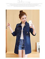 Feminino Jaqueta jeans Casual Simples Primavera,Sólido Longo Algodão Lapela Xale