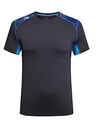 Homme Tee-shirt Camping / Randonnée Respirable Séchage rapide Design Anatomique Printemps Eté Noir Violet Bleu Ciel Bourgogne