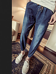 Men's Low Rise Inelastic Jeans Pants,Chinoiserie Slim Skinny Solid
