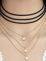 Women's Choker Necklaces Round Alloy Euramerican Fashion Gold Jewelry For Party Daily 1 pc