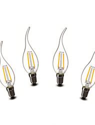 2W E14 Luzes de LED em Vela CA35 2 COB 200 lm Branco Quente Decorativa AC 220-240 V 4 pçs