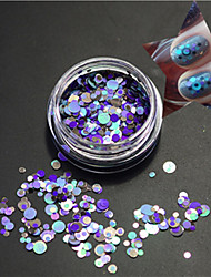 1bottle fashion clear style blue nail art mixte coloré laser brillant rond coupure ongle art beauté paillette p16