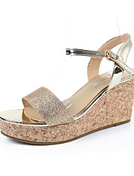 Women's Slippers & Flip-Flops Sandals Comfort Leatherette Summer Outdoor Dress Casual Walking Rhinestone Wedge Heel Gold Blue 3in-3 3/4in