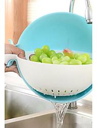 1Pcs Candy Color Kitchen Use Pot Plastic Drainer Double-Deck  Vegetable Fruit Basket Kitchen Storage Bowls Plastic Leakage Kitchen Tool