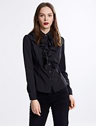 Women's Ruffle Simple Spring/Fall Shirt,Solid Shirt Collar Long Sleeve White/Black Polyester Medium