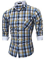 Men's Casual/Daily Simple All Seasons Shirt,Plaid Classic Collar Long Sleeves Cotton Polyester Medium