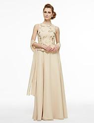 Lanting Bride® Linha A Vestido Para Mãe dos Noivos - Duas Peças Longo Sem Mangas Chiffon Renda  -  Miçangas Renda Pregas