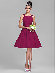 A-Line Straps Knee Length Chiffon Stretch Satin Bridesmaid Dress with Draping Ruching by LAN TING BRIDE®