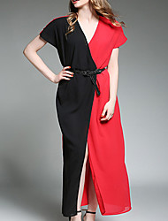 Women's Casual/Daily Simple Sheath Dress,Patchwork V Neck Maxi Short Sleeve Polyester Summer Mid Rise Inelastic Thin