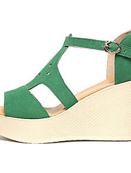 Women's Sandals Club Shoes Synthetic Summer Casual Wedge Heel Green Ruby Black 3in-3 3/4in