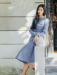 Gaine Robe Femme Sortie Décontracté / Quotidien Mignon Chinoiserie,Couleur Pleine Col Arrondi Midi Manches Longues Coton Printemps Automne