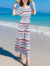 Women's Going out Beach Simple Sheath Dress,Striped Round Neck Maxi Short Sleeve Silk Cotton Summer Low Rise Micro-elastic Medium