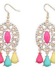 Euramerican Bohemian Fashion Luxury Oval Rhinestone Tassel Earrings Lady Party Drop Earrings Movie Jewelry