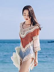 Damen Einfarbig Raster Gitter Retro Einfach Ausgehen Schwimmen T-shirt,V-Ausschnitt Alle Saisons Sommer 3/4 Ärmel Baumwolle Spitze Dünn