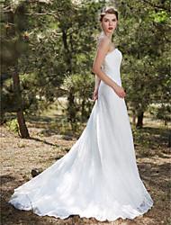 A-ligne bretelles tribunal train dentelle satin tulle robe de mariée avec dentelle