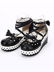 Schuhe Niedlich Klassische/Traditionelle Lolita Elegant Lolita Prinzessin Handgemacht Plattform Genähte Spitzen Punkte Lolita 6 CMWeiß