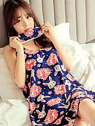 Women's Gartered Lingerie Nightwear Print-Thin Polyester