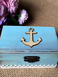 Wooden Mediterranean boat anchor rectangle ring box - sea blue