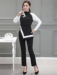 Feminino Blusa Calça Conjuntos Casual Simples Primavera,Cor Única Colorido