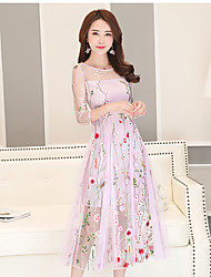 Women's Embroidery Going out Casual/Daily Holiday Sexy Cute Swing Dress,Print Round Neck Midi 3/4 Length Sleeve Others Spring Summer Mid Rise