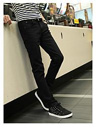 Men's Mid Rise Micro-elastic Jeans Pants,Street chic Straight Split Solid