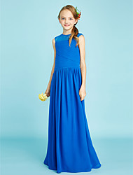 A-Line Jewel Neck Floor Length Chiffon Junior Bridesmaid Dress with Side Draping by LAN TING BRIDE®