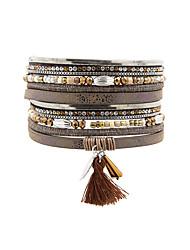 Fashion Women Multi Rows Metal Leaf  Rhinestone Crystal Beads Magnet Leather Bracelet