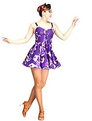 Danse latine Robes Femme Spectacle Chinlon Tulle Fibre de Lait 1 Pièce Sans manche
