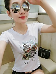 Women's Formal Simple Cute T-shirt,Solid Print Round Neck Short Sleeve Cotton