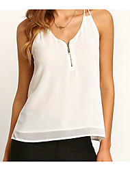 Tee-shirt Femme,Couleur Pleine simple Sans Manches Col en V Soie