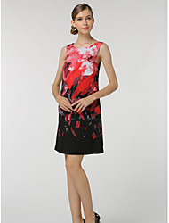 SHE'SWomen's Casual/Daily Work Sophisticated A Line DressFloral Round Neck Knee-length Sleeveless Polyester Summer Low Rise Inelastic Thin